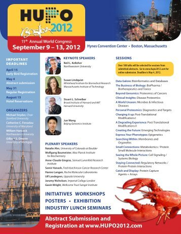 Abstract Submission and registration at www.hupO2012.com