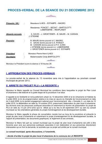 Compte-rendu de la séance du 21 décembre 2012 - La Redorte