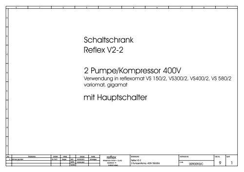 Reflex V2-2 2 Pumpe/Kompressor 400V mit Hauptschalter ...