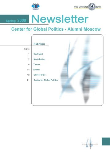 Newsletter Alumni Moscow 2009 Spring - MGIMO German Study ...