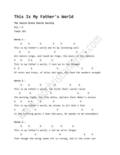 This Is My Father's World chords - Top Christian Lyrics