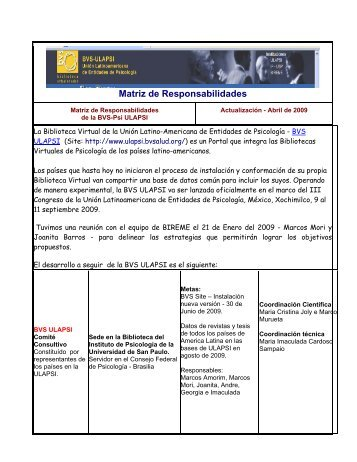 Matriz de Responsabilidades - BVS Psicologia ULAPSI Brasil
