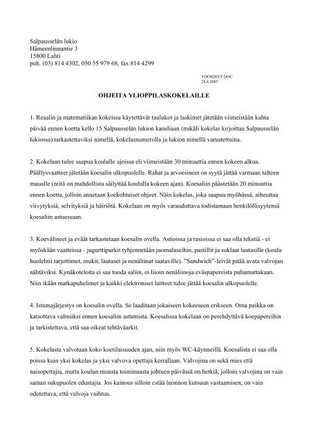 Salpausselän lukioon yo-kirjoituksiin tuleville 2 - Lahti