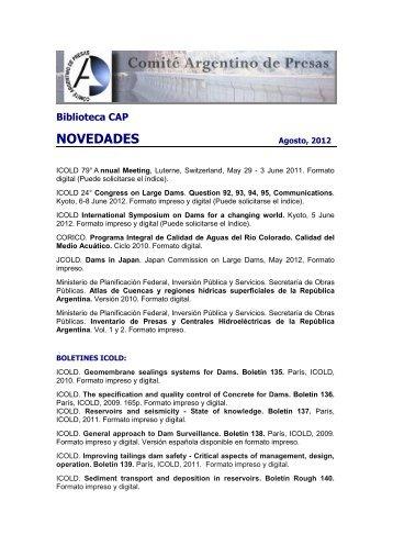 Novedades BIBLIOTECA CAP 1 2012 - Comité Argentino de Presas