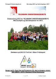 Årsberetning 2012 for TELEMARK ORIENTERINGSKRETS Med ...