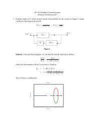 EE 362 Feedback Control Systems Solutions for Homework 7 1 ...