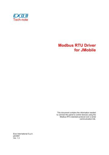 Modbus RTU Driver for JMobile