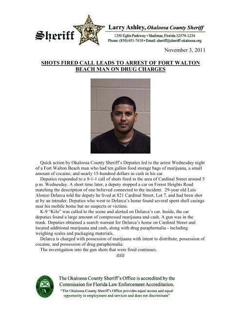 Nov. 3 - Shots Fired Leads to Drug Charges Arrest - Okaloosa ...