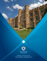 APPLICATION FOR TRANSFER ADMISSION - Xavier University