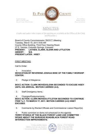 Tuesday, March 15, 2011 Minutes - El Paso County Government