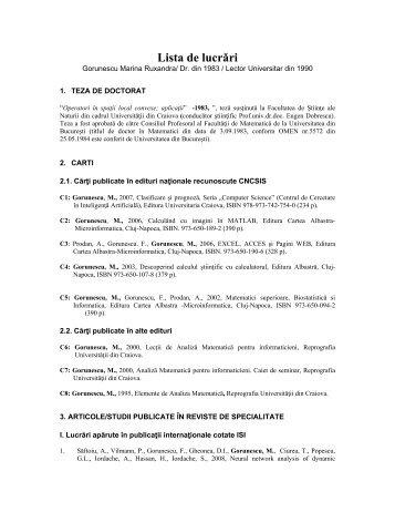 Lista de lucrǎri - Universitatea din Craiova