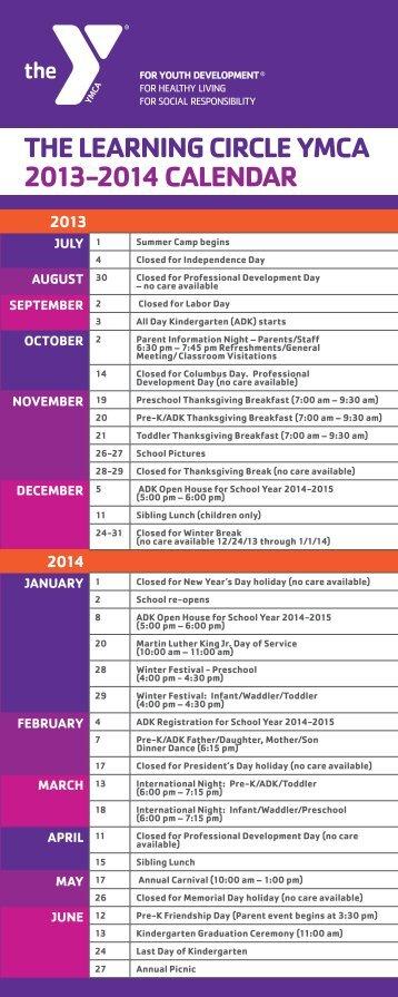 school calendar & tuition info - The Summit Area YMCA