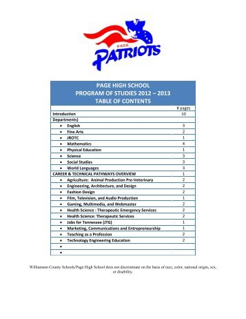 page high school program of studies 2012 – 2013 table of contents
