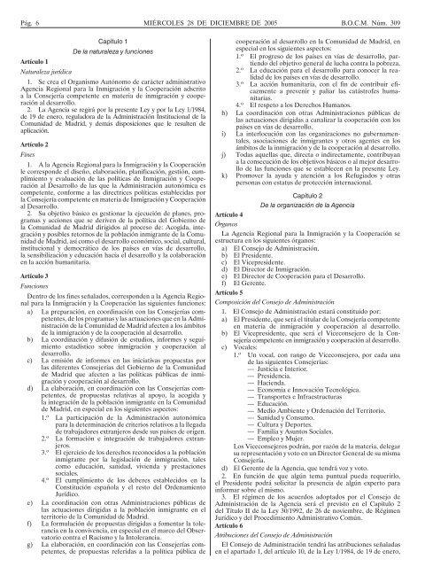 I. COMUNIDAD DE MADRID A) Disposiciones Generales
