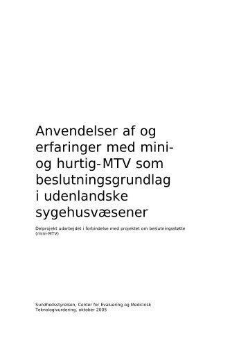 Anvendelser af og erfaringer med mini- og hurtig-MTV som ...