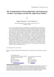 Convergence towards the Anglo-Saxon Model? - S-WoPEc