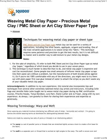 Weaving Metal Clay Paper - Creative Texture Tools