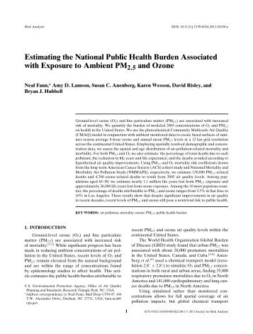 Estimating the National Public Health Burden Associated with ...
