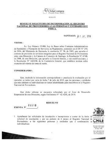 Resolución Proveedores Inscritos Junio 2010 - Chileproveedores