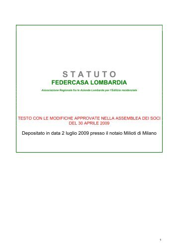 Scarica lo Statuto di Federcasa Lombardia