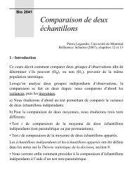 Comparaison de deux échantillons - Laboratoire de Pierre Legendre