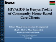 HIV/AIDS in Kenya: Profile of Community Home-Based Care Clients
