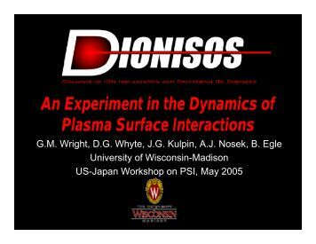 An Experiment in the Dynamics of Plasma Surface Interactions
