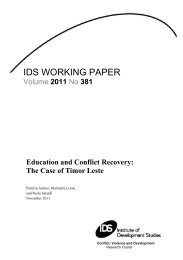 Education and Conflict Recovery: The Case of Timor Leste