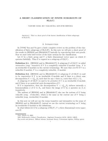 A SHORT CLASSIFICATION OF FINITE SUBGROUPS OF SL(3,C) 0 ...