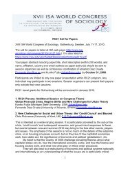 RC21 Call for Papers XVII ISA World Congress of Sociology ...