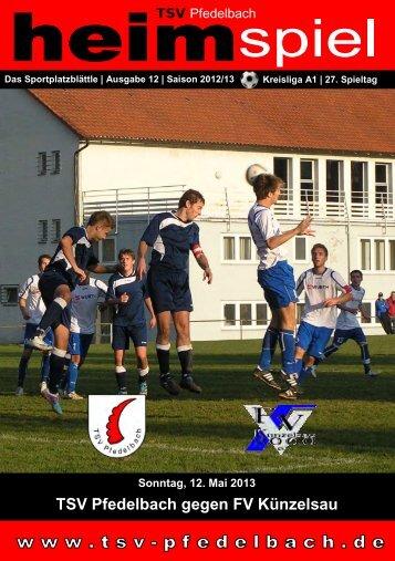 12. Heft gegen FV Künzelsau 12.05.2013 - TSV Pfedelbach
