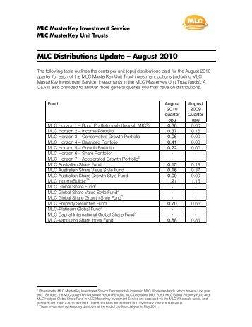 MLC MasterKey Unit Trust Distributions