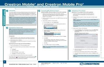 Quickstart: Crestron Mobile® and Crestron Mobile Pro®