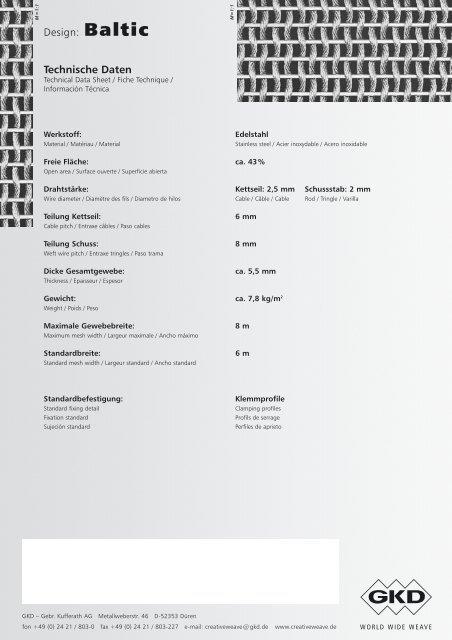 Design: Baltic CreativeWEAVE - E. Pfister & Cie AG