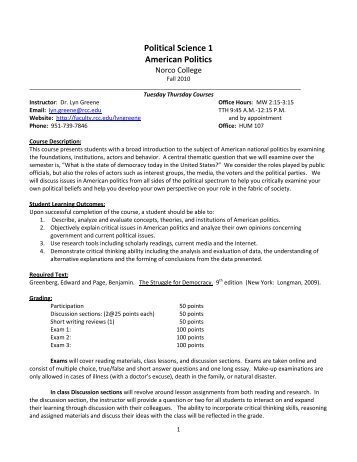 Political Science 1 American Politics - Academic Websites