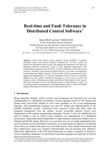 Real-time and Fault Tolerance in Distributed Control Software