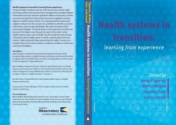 Health systems in transition: learning from experience