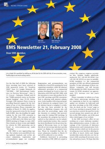 EMS Newsletter 21, February 2008 - European Microscopy Society