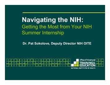 Navigating the NIH: - Office of Intramural Training & Education at the ...