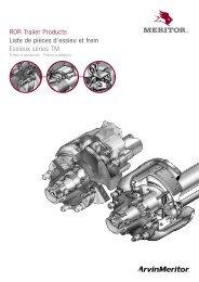ROR Trailer Products Liste de pièces d'essieu et frein ... - Meritor