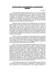 A biotecnologia, a sustentabilidade e a biodiversidade brasileira