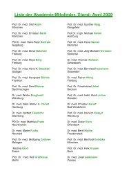 Liste der Akademie-Mitglieder, Stand: April 2009