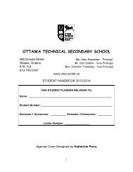 2013-2014 OTSS Student Agenda - Ottawa Technical Learning Centre