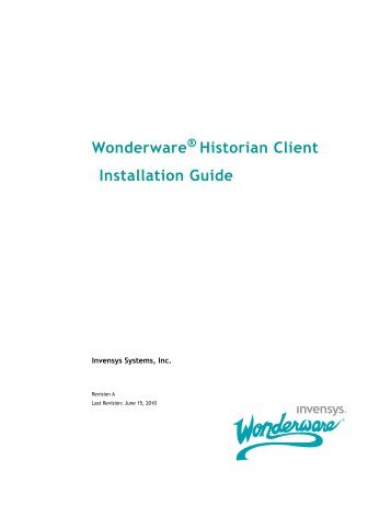 Wonderware historian client User guide Remote Controller manual