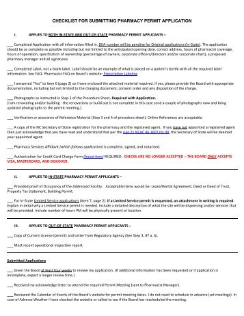 CHECKLIST FOR SUBMITTING PHARMACY PERMIT APPLICATION