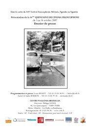 Quinzaine du cinéma francophone, du 3 au 16 octobre 2007 - Artishoc