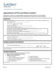 Appointment of Personal Representative Form - Lovelace Health Plan