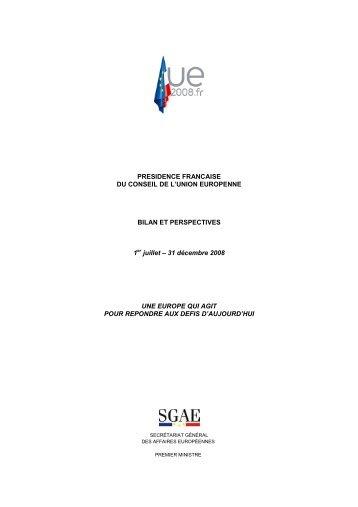 PRESIDENCE FRANCAISE DU CONSEIL DE L'UNION ...