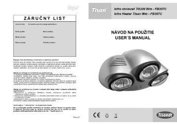 Návod na použitie pre sériu FB307 vo formáte pdf - TISANDT spol. s ro