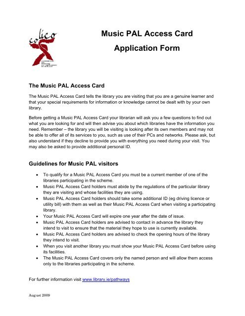 music pal access card application form mayo county library